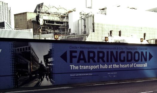 工事中の Farringdon 駅|2014年2月24日撮影