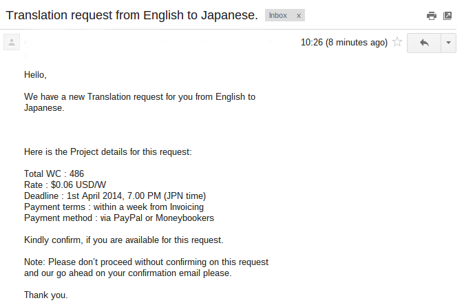 E-mail sent by a translation agency, looking for someone to translate a 486-word document in 34 minutes at 6 US cents
