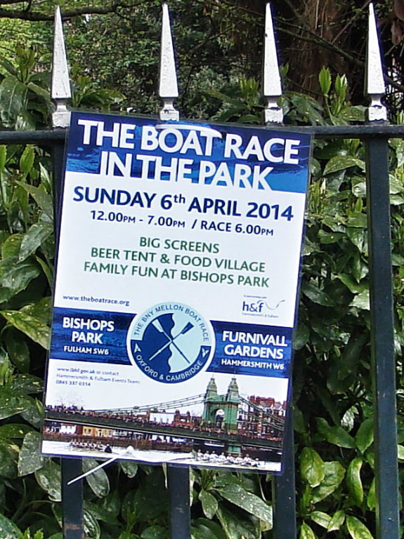 Normally, I watch the Boat Race in Bishops Park