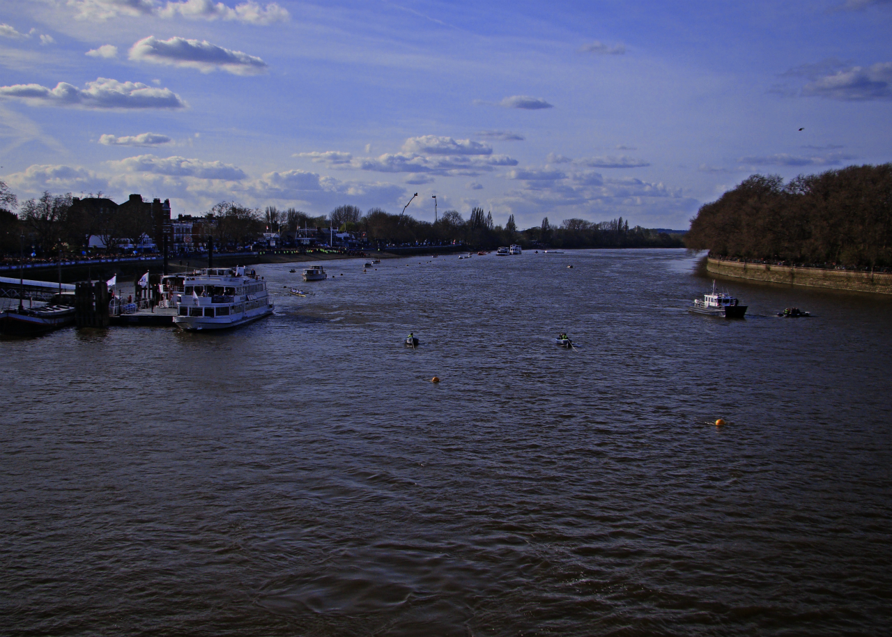 A view of the Thames, as seen from Putney Bridge, in anticipation of the Boat Races