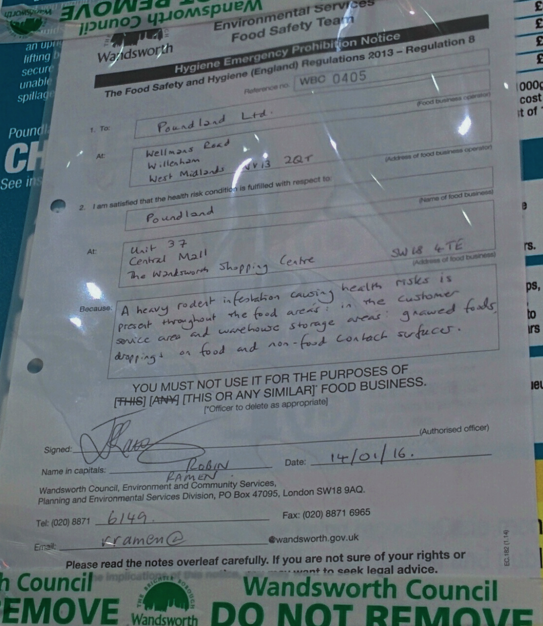 An hygiene emergency notice served by Wandsworth Council to Poundland in Wandsworth Southside shopping centre dated 14 Janaury 2016. Photographed 15 January 2016.