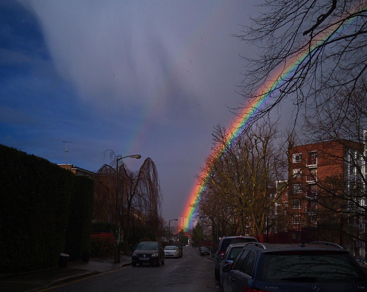 2016年3月28日にロンドンで撮影した虹の写真。主虹の横に副虹が映っている。