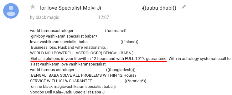 "Spam message in a forum offering astrological and black magic services with a ""101%"" guarantee"
