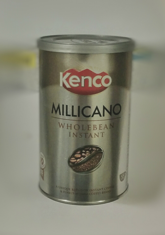 A tin of instant coffee (Kenco Millicano Wholebean Instant)
