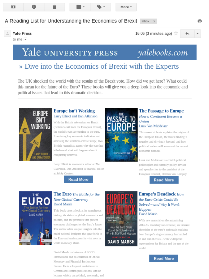 An e-mail from Yale University Press offering titles relevant to Brexit