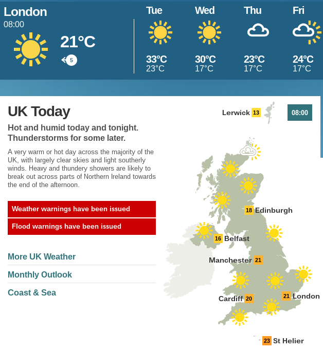 ロンドンの真夏日:BBCウェブサイトの天気予報ページのスクリーンショット