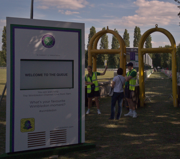 The entrance to the queue, Wimbledon Park