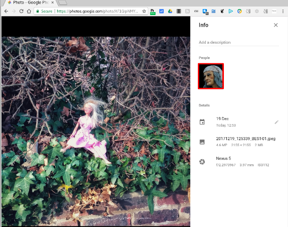 Google Photos misidentifies the doll with a picture of something / someone else.