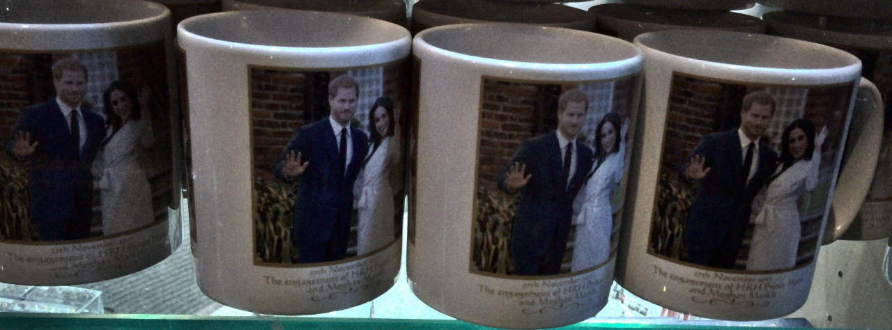 Mugs celebrating the engagement of Prince Harry and Meghan Markle, spotted at a souvenir shop in central London.