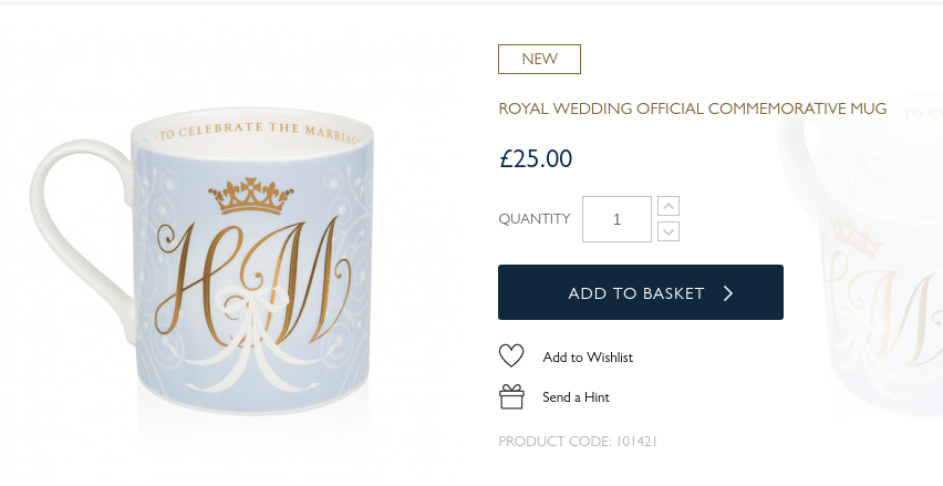 Official commemorative mug for the marriage of Prince Harry and Meghan Markle