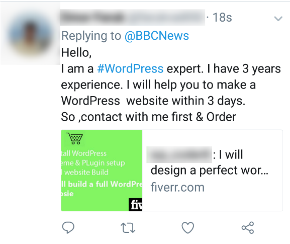 Screenshot of a tweet where a person is offering to create a new WordPress website for BBC News in three days for five dollars.