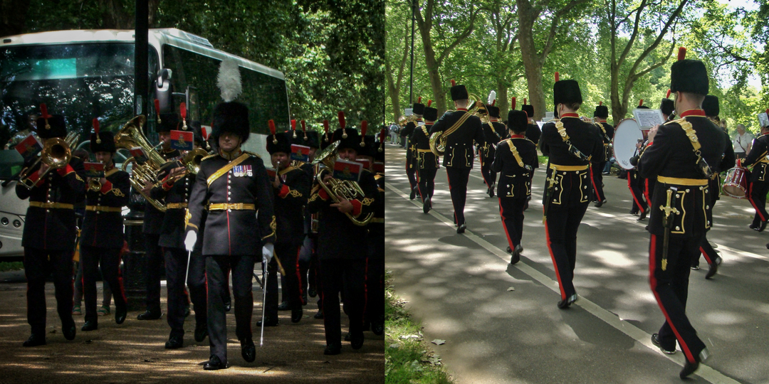 【写真】2018年6月11日、エディンバラ公の97歳の誕生日を祝う祝砲が41発ロンドン中心部にあるハイド・パークで撃たれた【50】軍楽隊が演奏しながら行進