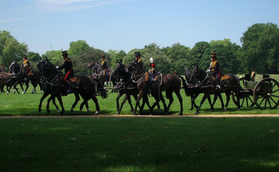 【写真】2018年6月11日、エディンバラ公の97歳の誕生日を祝う祝砲が41発ロンドン中心部にあるハイド・パークで撃たれた【8】王立騎馬砲兵・国王中隊の騎馬砲兵が近づいてくる