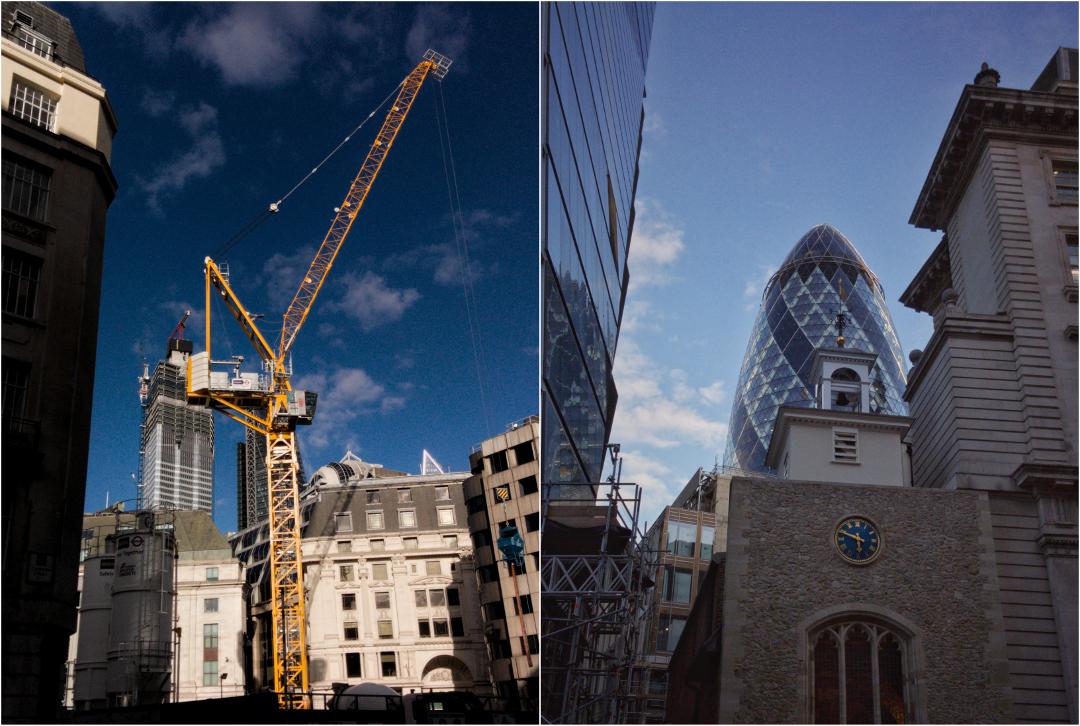 【写真】ロンドンの金融街ザ・シティで撮影した写真。クレーンと教会と高層ビル。2018年9月28日撮影。