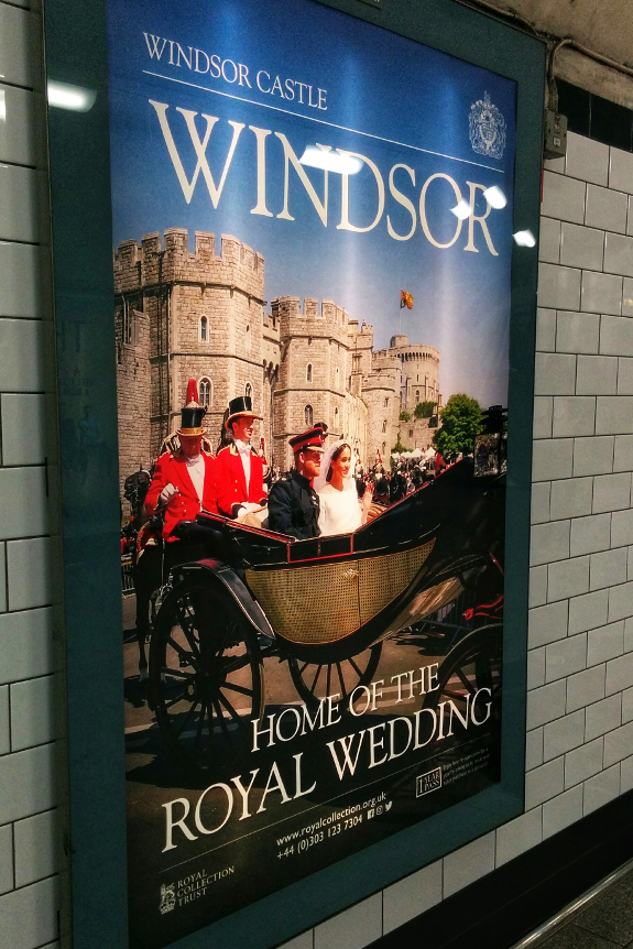 Poster advertising Windsor as a destination. It claims Windsor to be the home of the royal wedding. Photographed at Chancery Lane tube station, 30 October 2018.