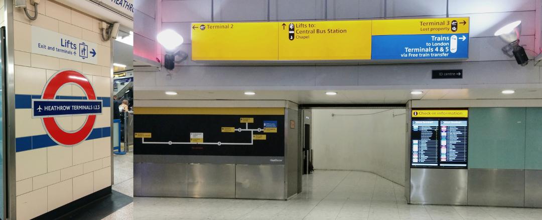2018年10月31日に撮影したロンドン地下鉄ヒースロー空港第1・2・3ターミナル駅出口付近の写真