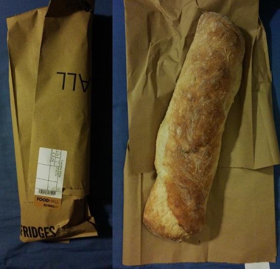 ロンドンの高級デパート『セルフリッジズ』で見切り品として安くなっていたので買ったチャバッタ(イタリアのパン)