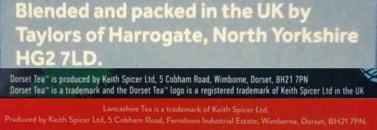 Yorkshire Tea, Lancashire Tea, Dorset Tea の製造者の住所