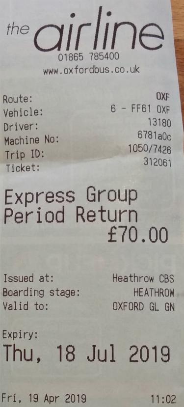 2019年4月19日、ロンドン・ヒースロー空港〜オックスフォードの往復乗車券(グループ・大人4人まで)