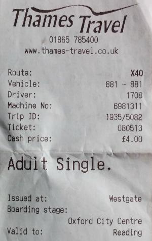 2019年4月20日の夕方、英国のオックスフォードからレディングまでバスに乗った際の乗車券