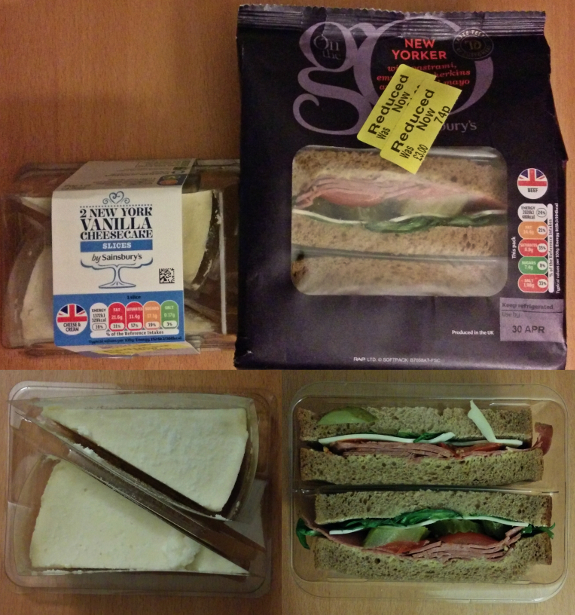 スーパーで見切り品としてニューヨーク風の食べ物が安くなっていた。ルーベンサンドに似たサンドイッチとチーズケーキ。