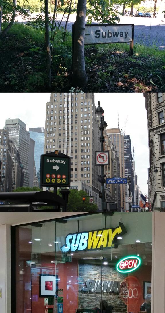 【写真】上:ロンドンにある歩行者・自転車用トンネルへの案内;中:ニューヨークの地下鉄駅への案内;下:ロンドンにあるサンドイッチのチェーン店 Subway の外観