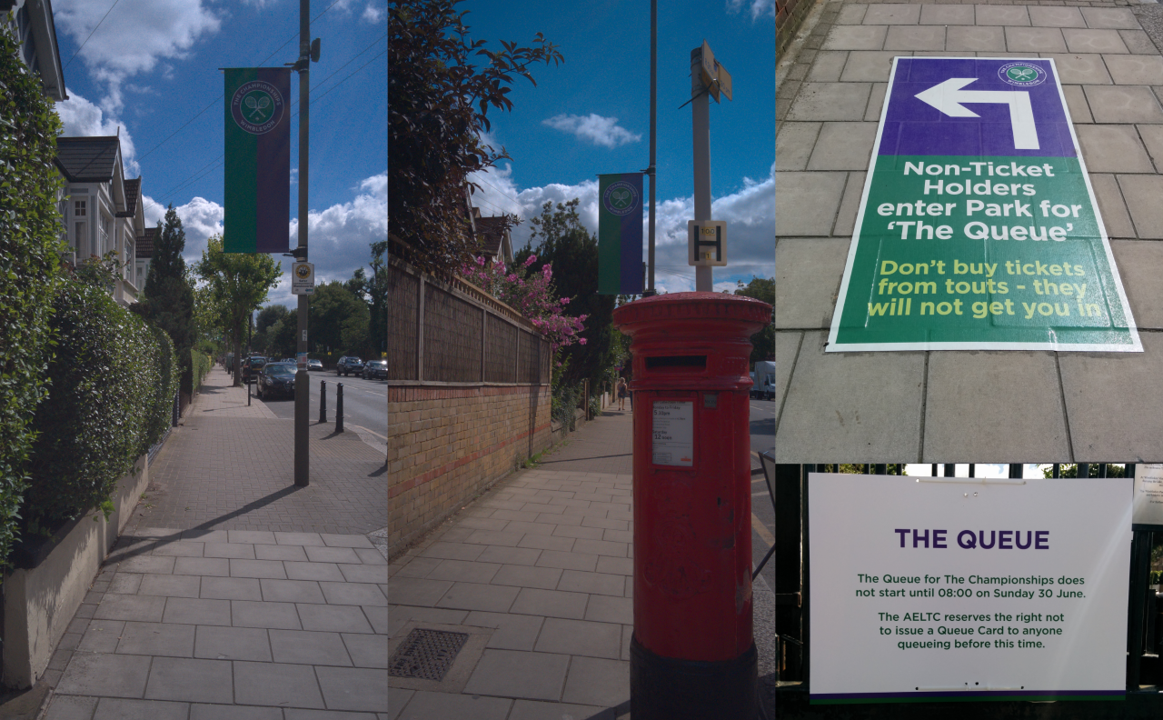 Follow the banners and directions from London Underground Southfields station to Wimbledon Park where the queue forms