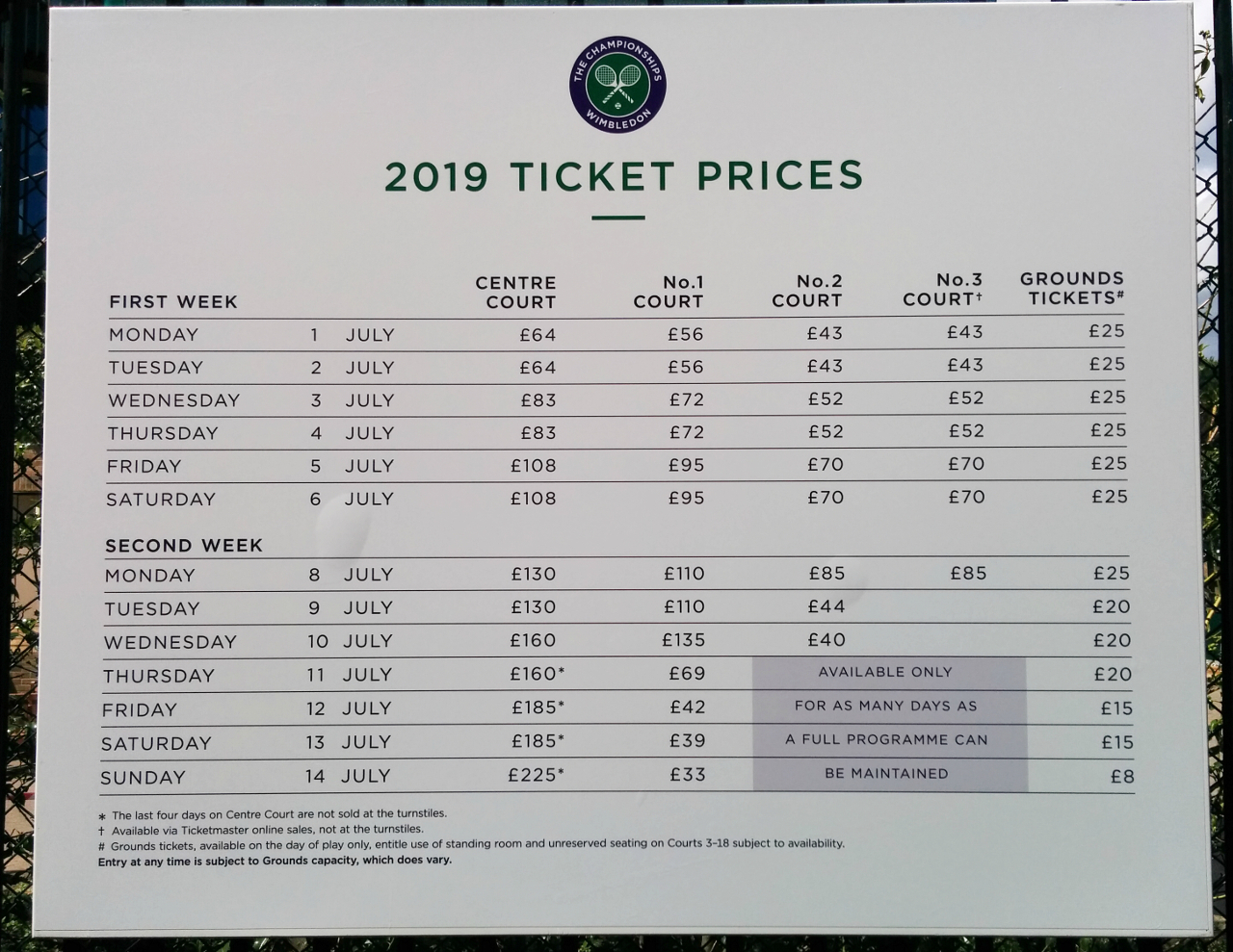 Ticket prices for the 2019 Championships