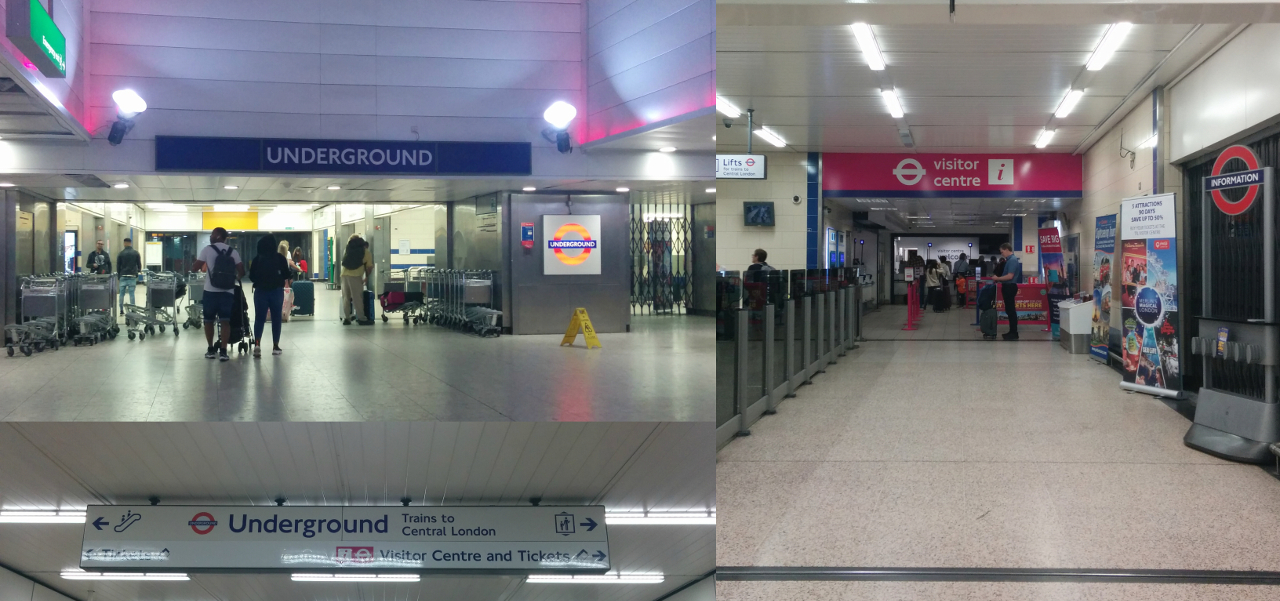 ロンドン地下鉄ピカデリー線ヒースロー空港第1・2・3ターミナル駅入口