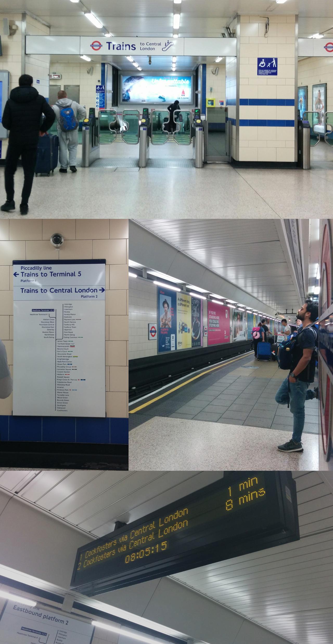 ロンドン地下鉄ピカデリー線ヒースロー空港第1・2・3ターミナル駅自動改札・プラットホーム・発車標