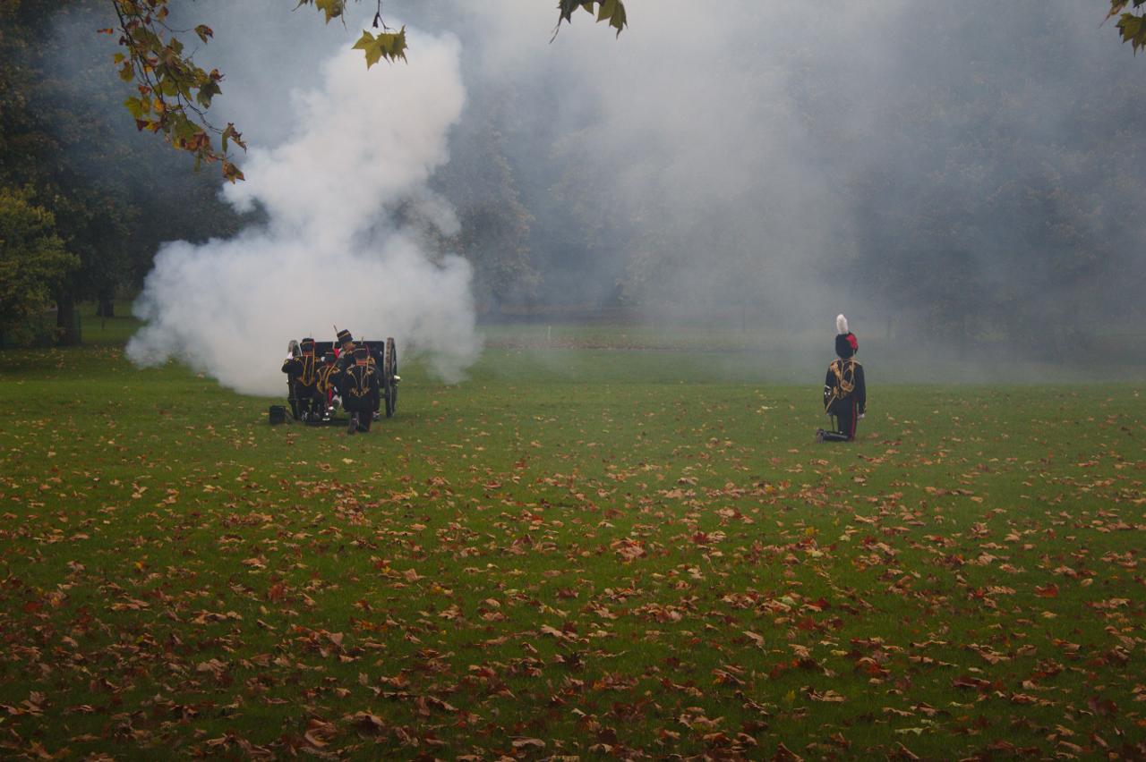The King's Troop, Royal Horse Artillery firing a 41-gun salute in Green Park, London. 14 October 2019. (3)