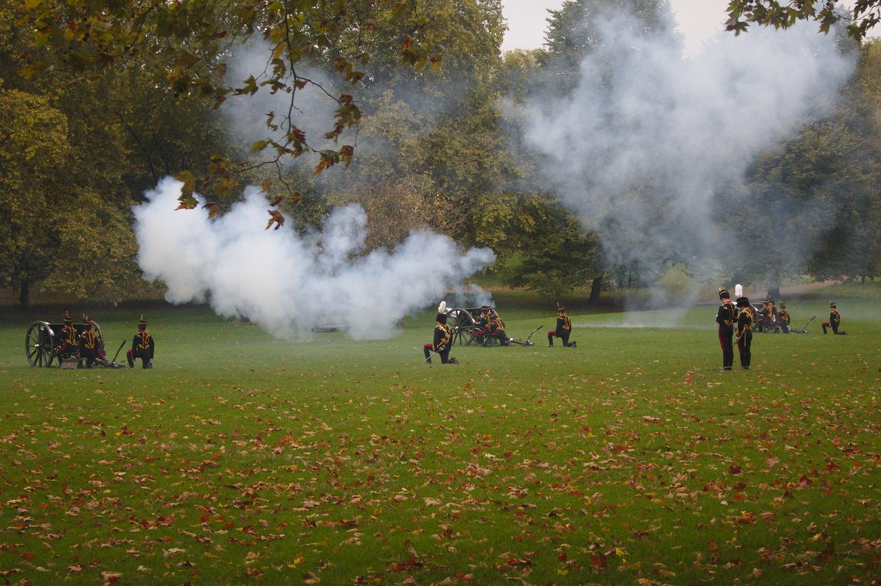 The King's Troop, Royal Horse Artillery firing a 41-gun salute in Green Park, London. 14 October 2019. (5)