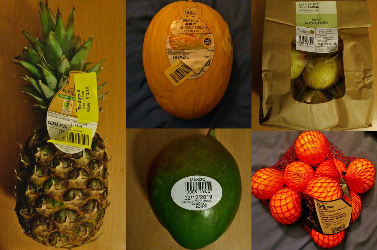 果物:パイナップル・メロン・みかん・マンゴー・西洋ナシ