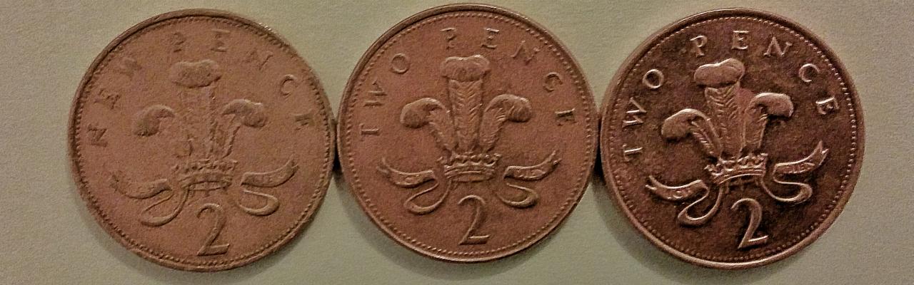 英国の2ペンス玉(裏)