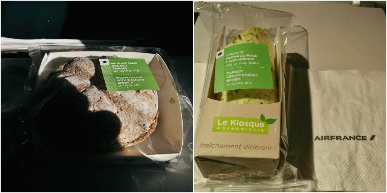 エール・フランスのロンドン〜パリとパリ〜ロンドンのフライトで出された軽食。