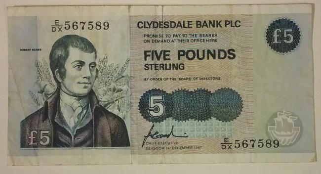 スコットランドの Clydesdale 銀行発行の5ポンド紙幣