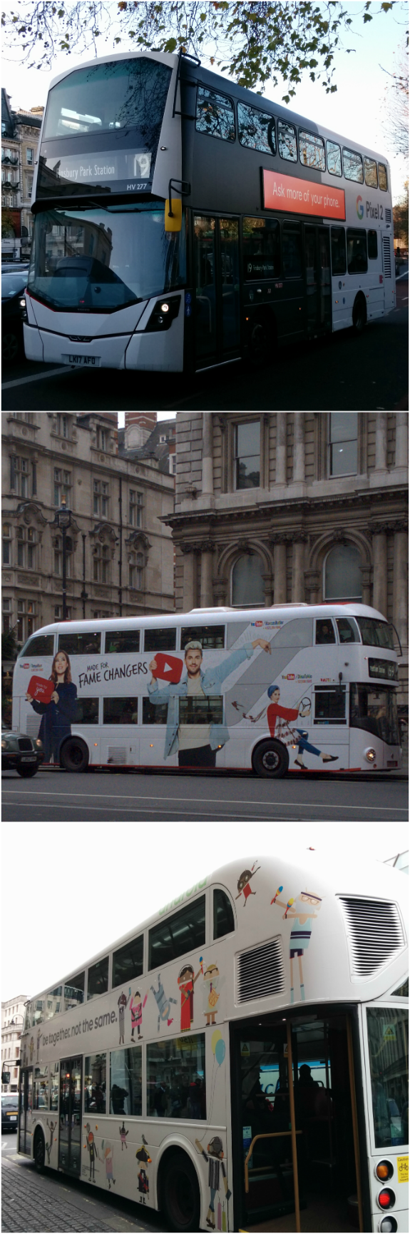 A photograph of London buses with fully-wrapped advertisements for Google products: Android (photographed: 28 February 2015); YouTube (30 December 2016); Pixel 2 (25 November 2017)
