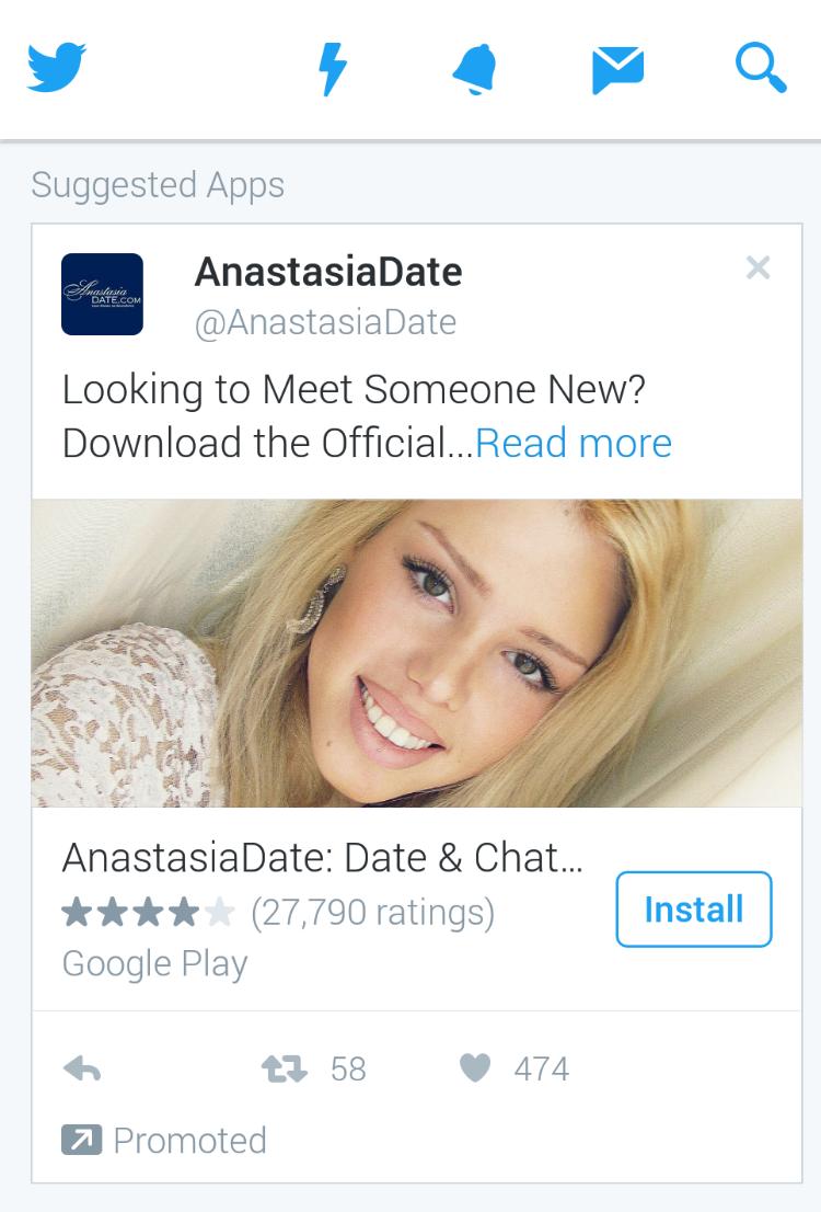 ツイッターで「おすすめ」された出会い系アプリの宣伝