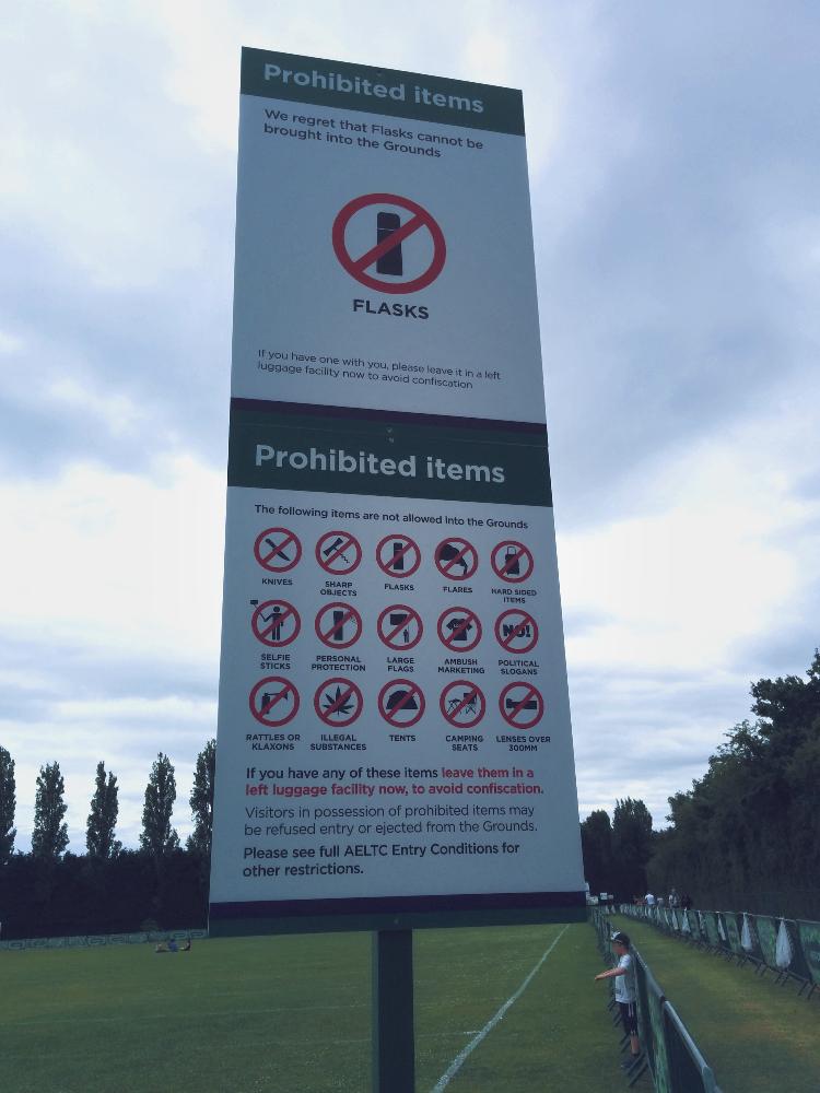 Wimbledon 2015—List of prohibited items.