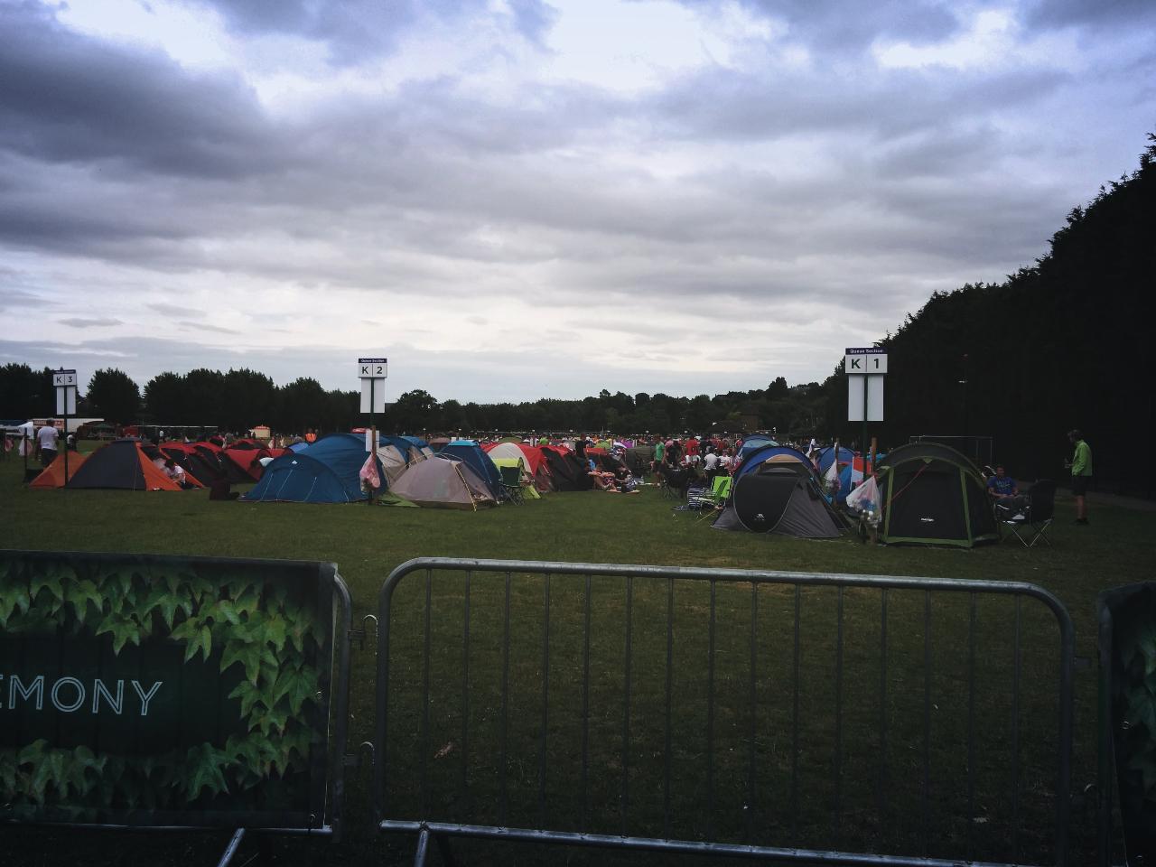 Wimbledon 2015—Tents pitched up in Wimbledon Park, 28 June 2015