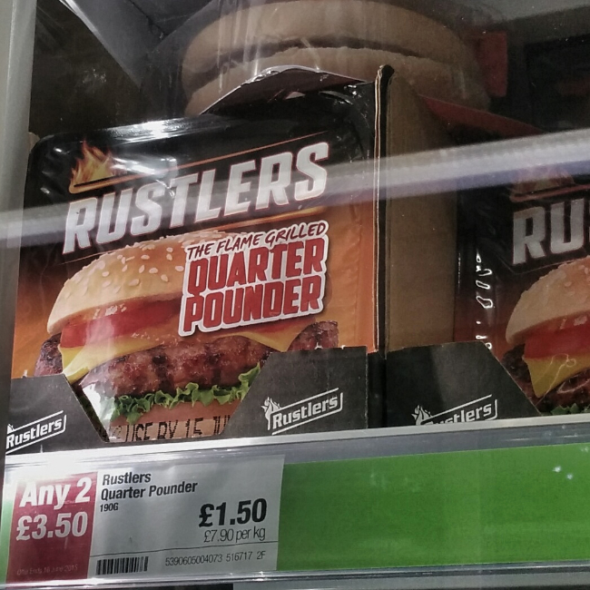 Silly supermarket offers. Rustlers quarter pounder burger. :1.50 per pack, 2 for :3.50.