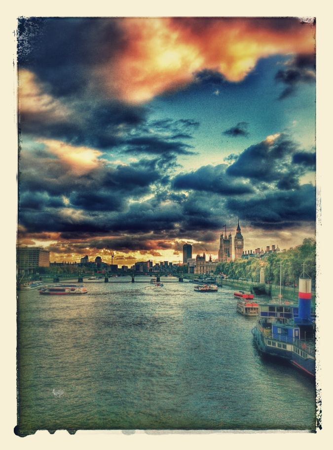 Westminster Bridge and the Houses of Parliament (21 October 2014): Google+ Photos auto-awesome effects