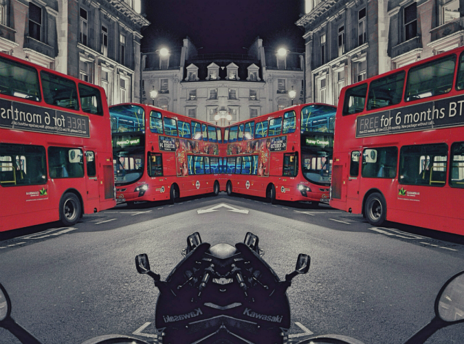 London buses (21 October 2014): mirror