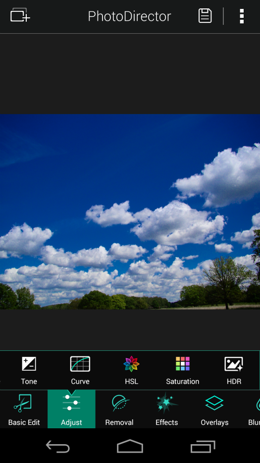 Blue skies  (14 May 2014): PhotoDirector editing process