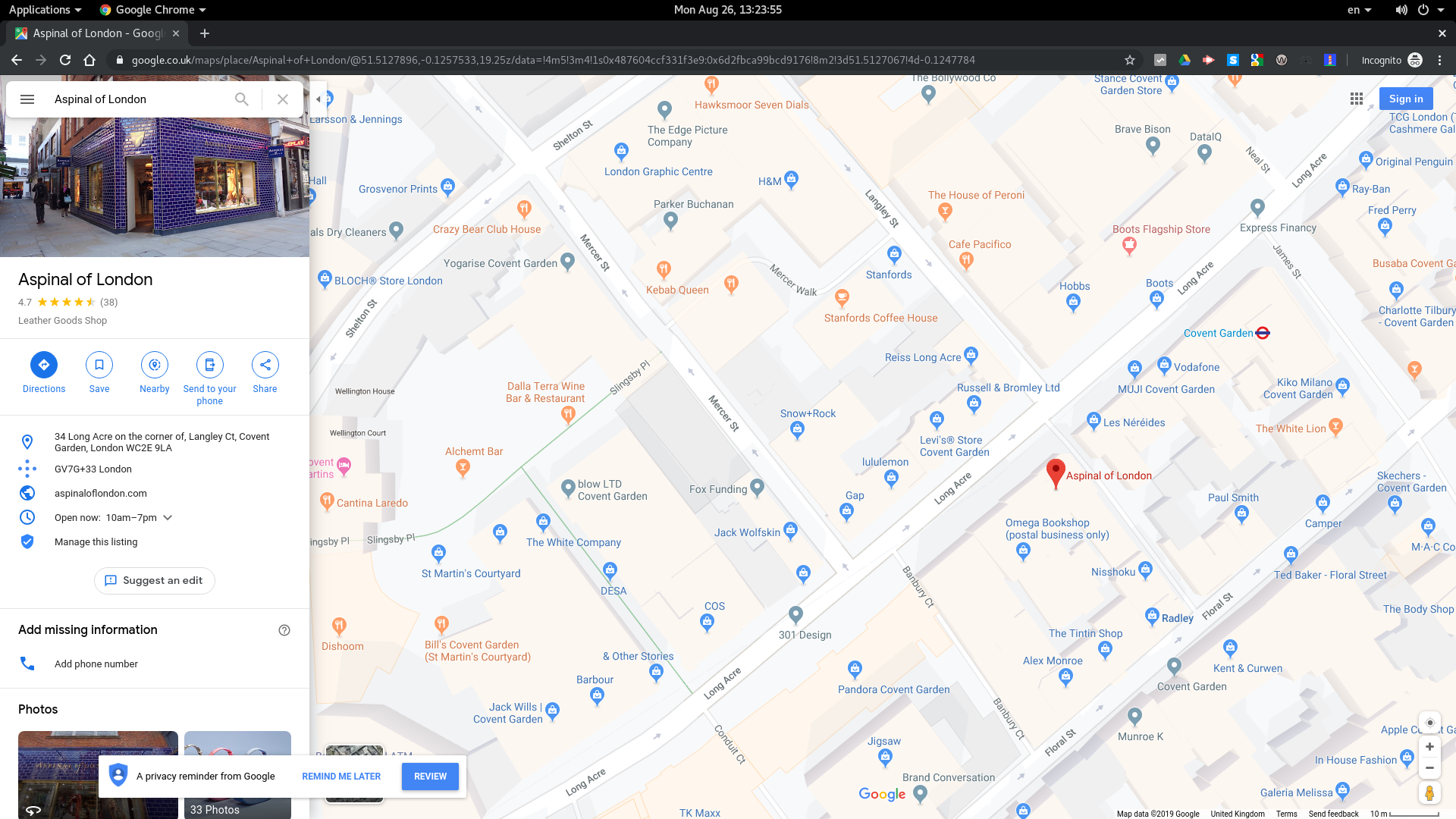 Screenshot of Google Maps for now-closed Aspinal of London store.