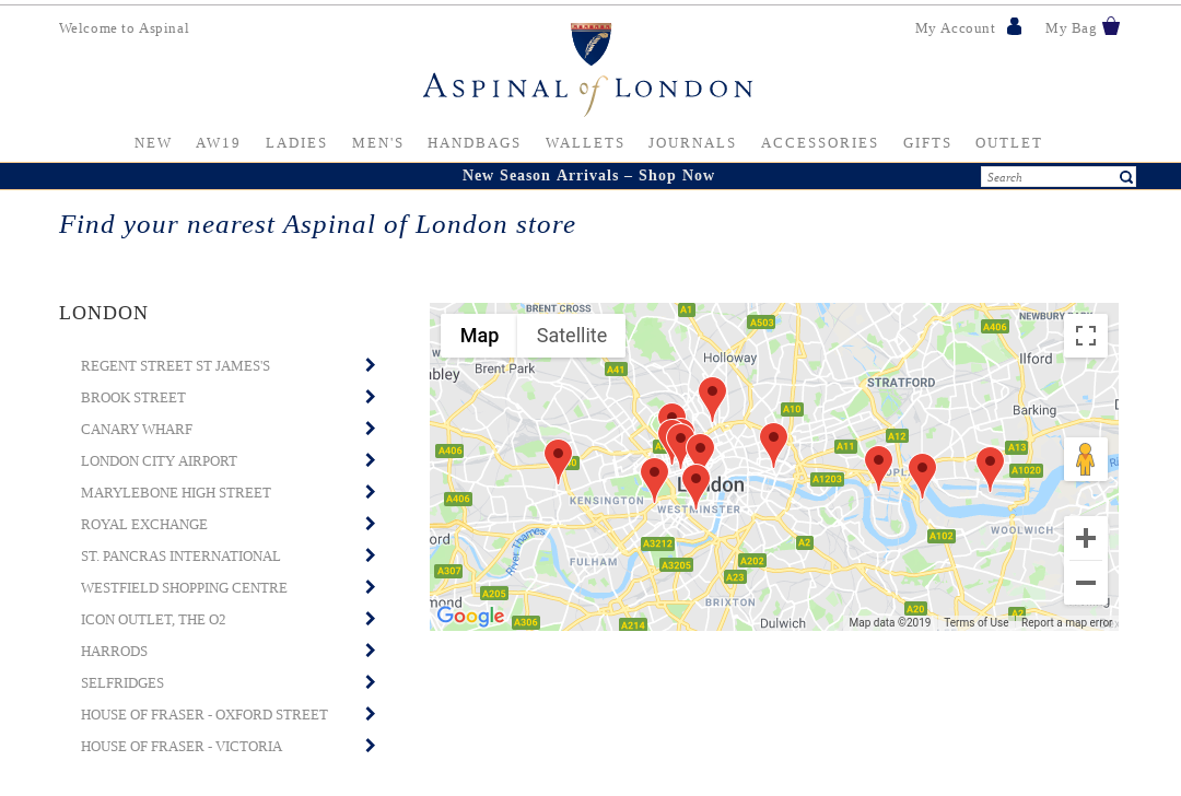 Screenshot of Aspinal of London website showing store locations in London.