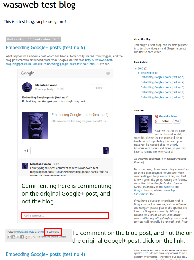 Screenshot of a blog post with an embedded Google+ post