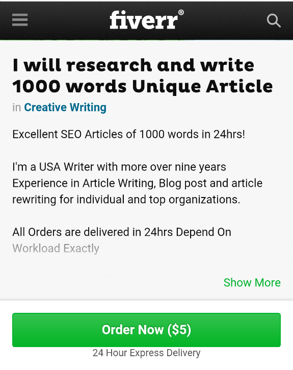 An advertisment on Fiverr where someone offers to write a 1,000-word article for $5