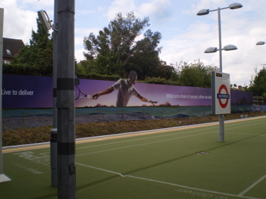 London Underground Southfields station: mocked up as a tennis court by a sponsor