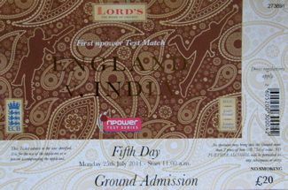A ticket for the fifth day of the first Test match between England and India at Lord's, 25 July 2011